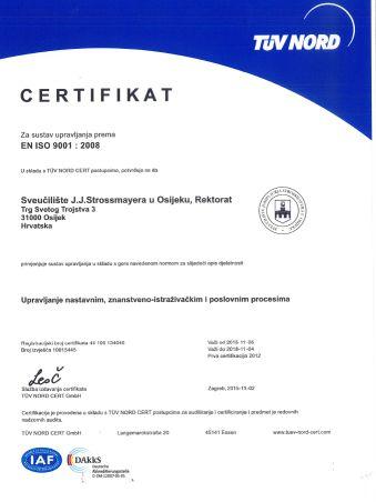 Recertifikacijski audit sustava upravljanja kvalitetom ISO 9001:2008