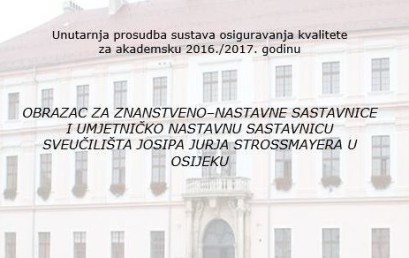 Unutarnja prosudba sustava upravljanja kvalitetom svih sastavnica Sveučilišta