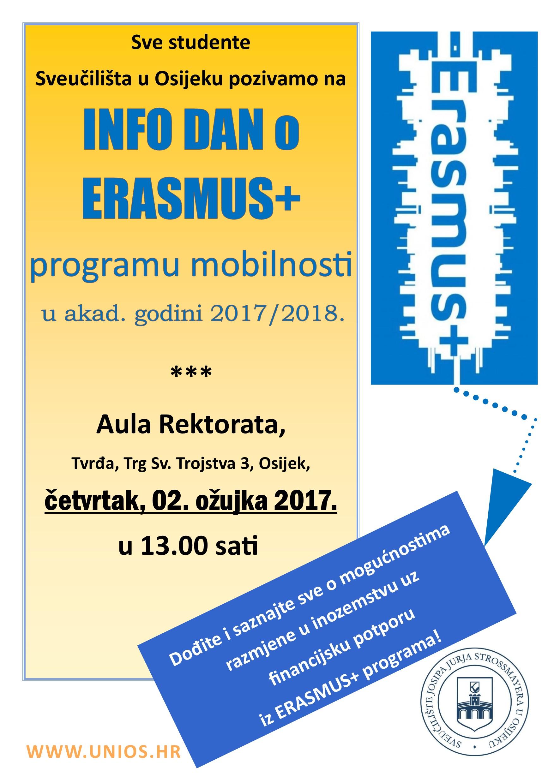 Info dan o Erasmus+ programu mobilnosti za studente Sveučilišta u Osijeku – poziv