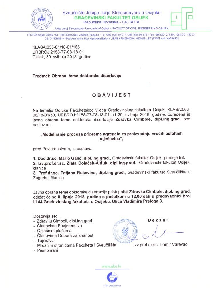 Obavijest o javnoj obrani doktorske disertacije pristupnika Zdravka Cimbole, mag. ing. građ.